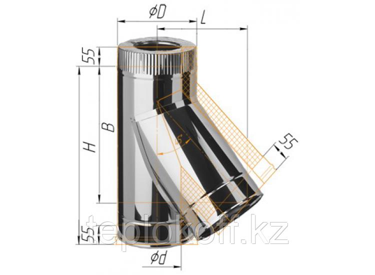 Тройник сэндвич 135°, по воде D=120/200, AISI 430/430, 0,8/0,5 мм (Феррум)