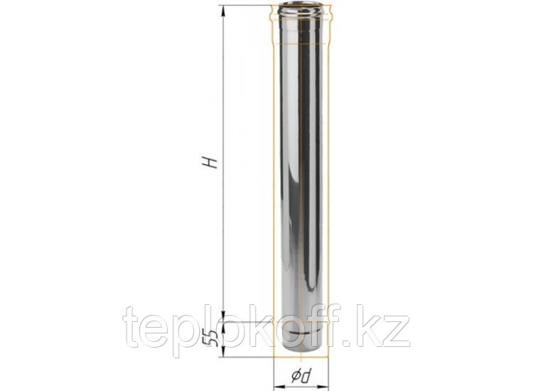Дымоход L=1000, D=150, AISI 430, 0,5 мм (Феррум)