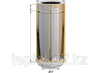 Дымоход двустенный, по воде L=500, D=150/210, AISI 430/430, 0,5/0,5 мм (Феррум)