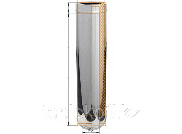 Дымоход двустенный, по воде L=500, D=150/210, AISI 430/430, 0,8/0,5 мм (Феррум)