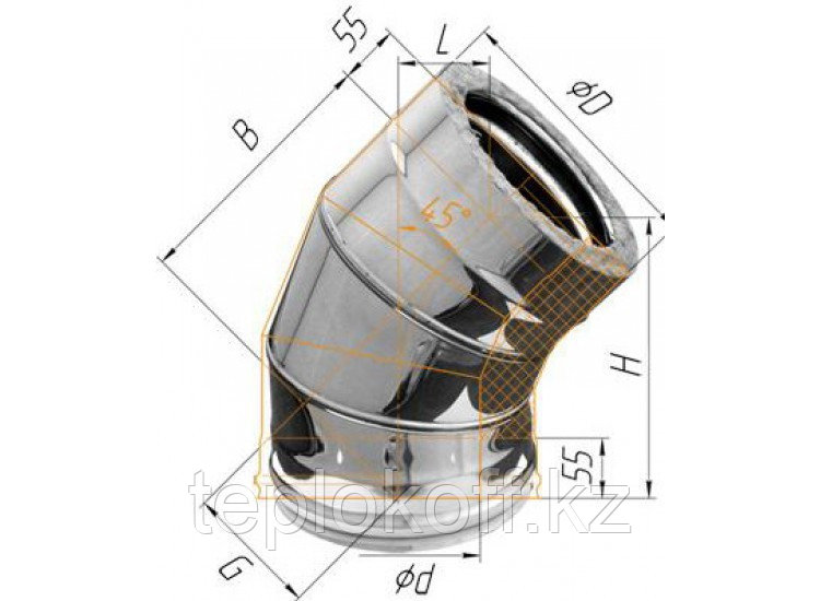 Колено двустенное 135°, по воде D=150/210, AISI 430/430, 0,5/0,5 мм (Феррум)