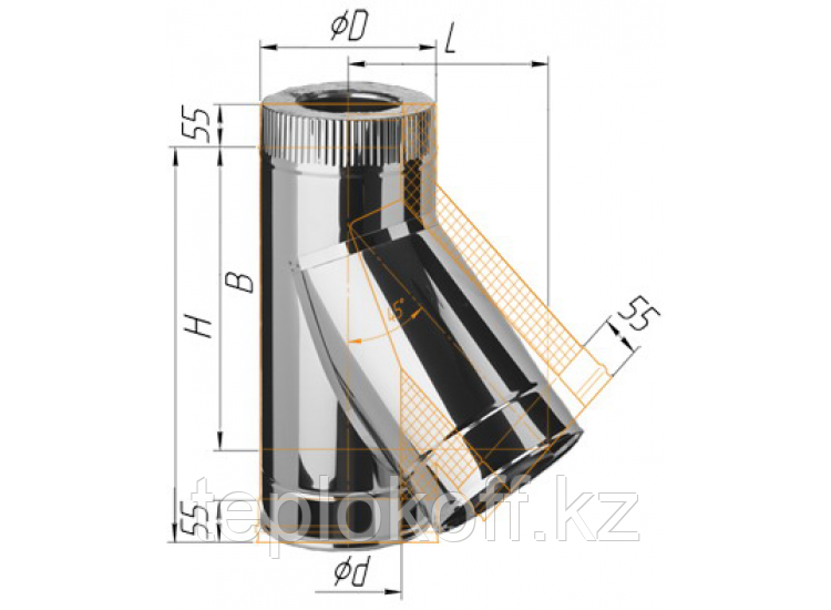 Тройник сэндвич 135°, по воде D=150/210, AISI 430/430, 0,8/0,5 мм (Феррум)