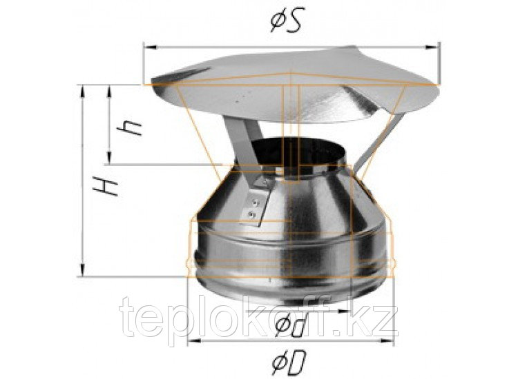 Оголовок D=150/210, AISI 430/ОЦ, 0,5/0,5 мм, по воде (Феррум)