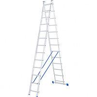 Лестница, 2 х 13 ступеней, алюминиевая, двухсекционная СИБРТЕХ Pоссия