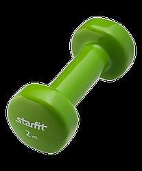 Гантель виниловая DB-101 2 кг, зеленая