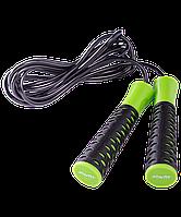 Скакалка RP-103 ПВХ, с нескользящей ручкой, 3,05 м, черная/зеленая Starfit