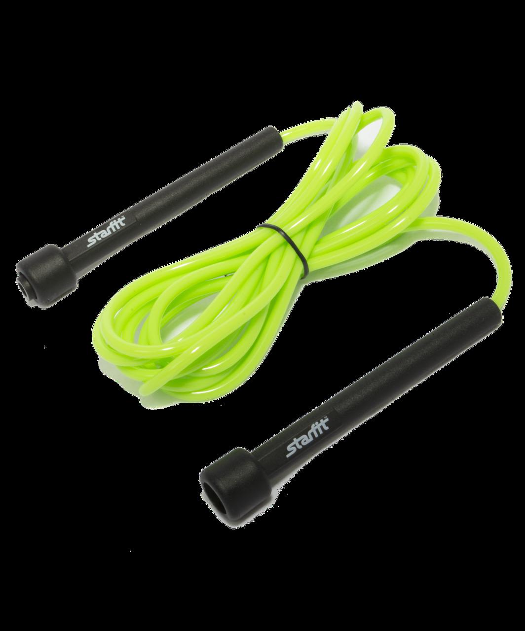 Скакалка RP-101 ПВХ с плаcтиковой ручкой, зеленая, 3 м