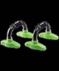 Упоры для отжиманий «Классические» BA-302, черные/зеленые