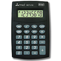 Калькулятор карманный 8 разрядов Uniel BCP-100 MC2 двойное питание 110*65*11мм черный