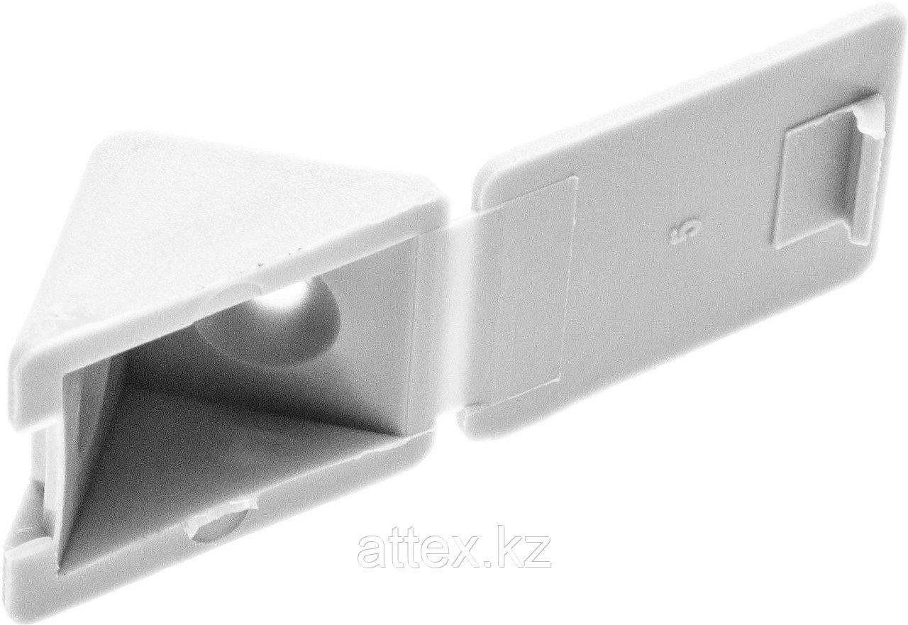 Уголок мебельный с шурупом, цвет белый, 4,0x15мм, 4шт, ЗУБР 4-308256-3