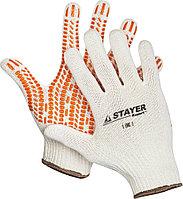 """Перчатки STAYER """"EXPERT"""" трикотажные с защитой от скольжения, 10 класс, х/б, L-XL 11401-XL"""
