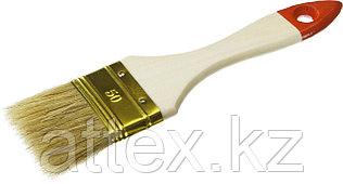 """Кисть плоская ЗУБР """"УНИВЕРСАЛ-ОПТИМА"""", светлая щетина, деревянная ручка, 50мм  01099-050_z01"""