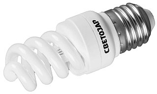 "Энергосберегающая лампа СВЕТОЗАР ""КОМПАКТ"" спираль,цоколь E27(стандарт),Т2,яркий белый свет(4000 К),  44454-09_z01"