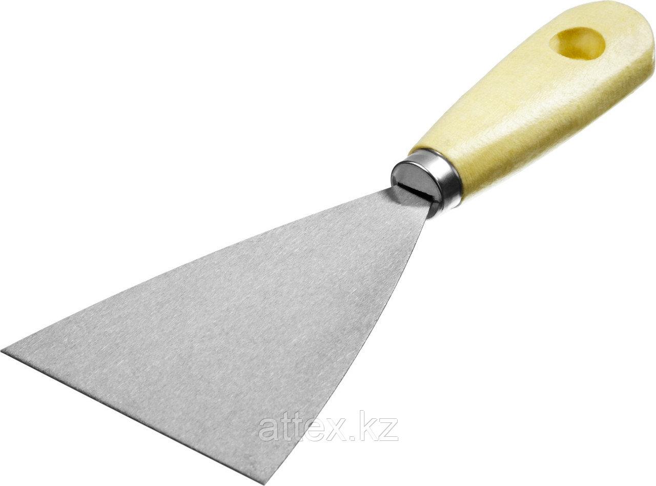 Шпатель MIRAX стальной, c деревянной ручкой, 80мм  1000-080_z01