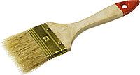 """Кисть плоская ЗУБР """"УНИВЕРСАЛ-ОПТИМА"""", светлая щетина, деревянная ручка, 63мм  01099-063_z01"""
