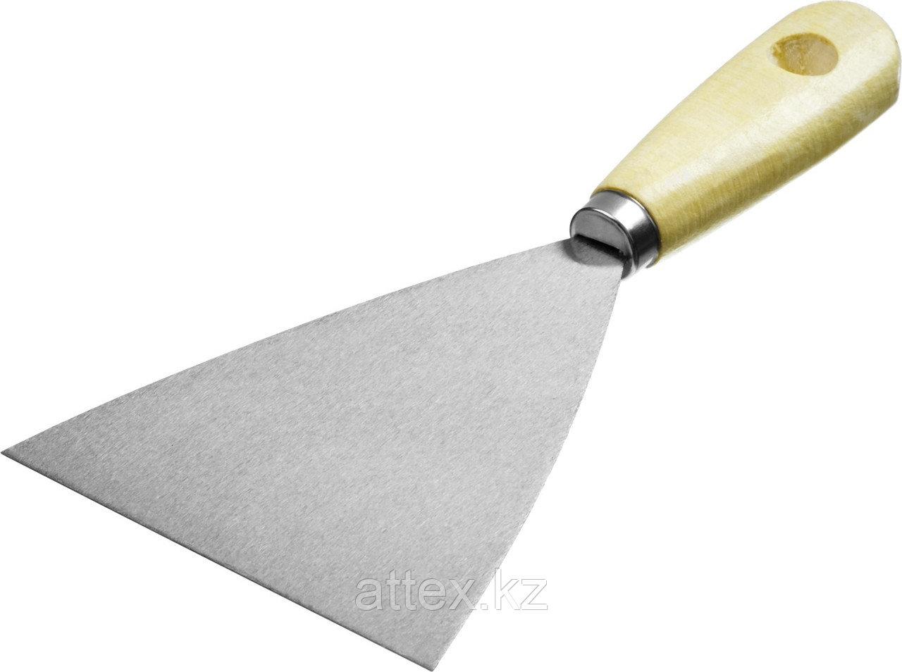 Шпатель MIRAX стальной, c деревянной ручкой, 100мм  1000-100_z01