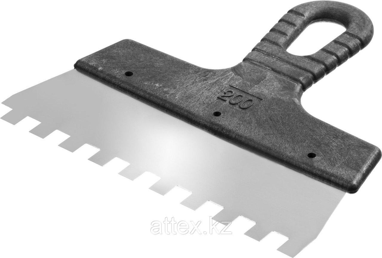 Шпатель нержавеющий СИБИН зубчатый, с пластмассовой ручкой, зуб 10х10мм, 200мм  10089-20-10_z01