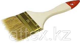 """Кисть плоская ЗУБР """"УНИВЕРСАЛ-ОПТИМА"""", светлая щетина, деревянная ручка, 75мм  01099-075_z01"""