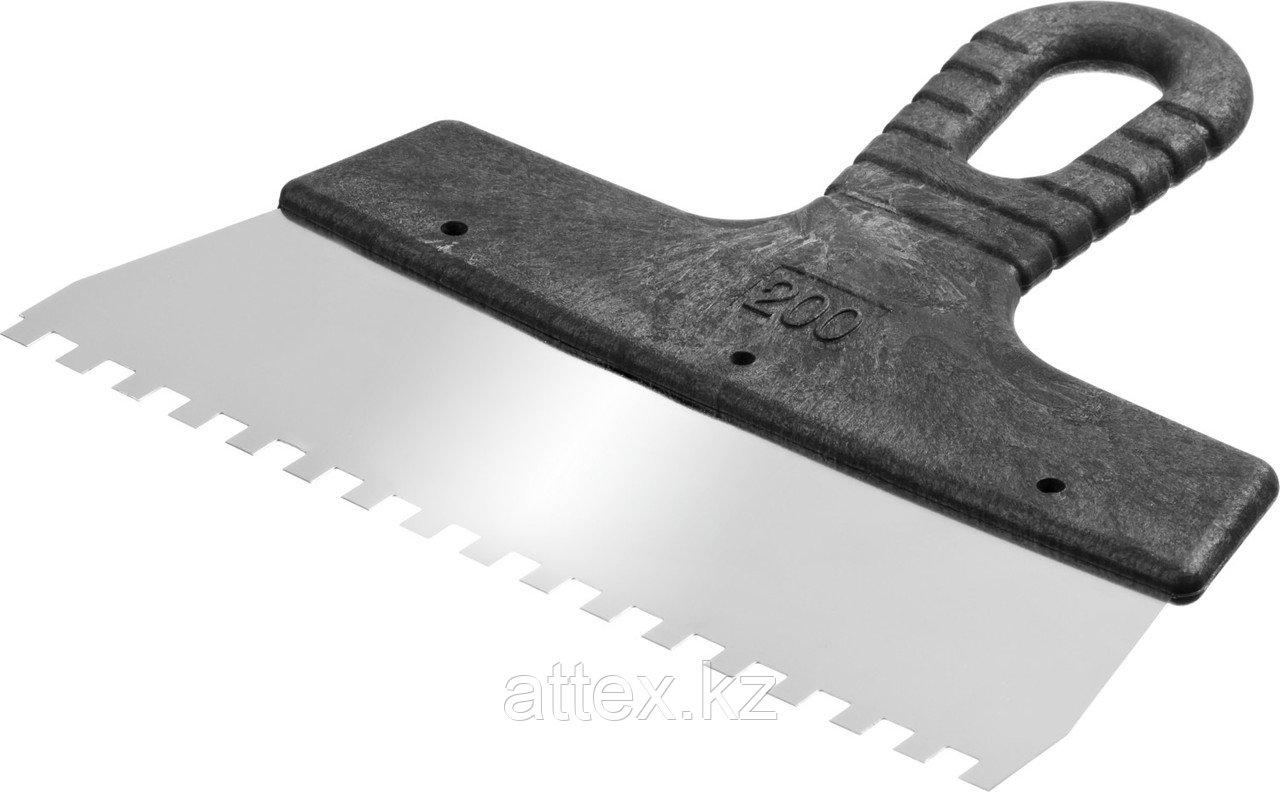 Шпатель нержавеющий СИБИН зубчатый, с пластмассовой ручкой, зуб 6х6мм, 200мм  10089-20-06_z01