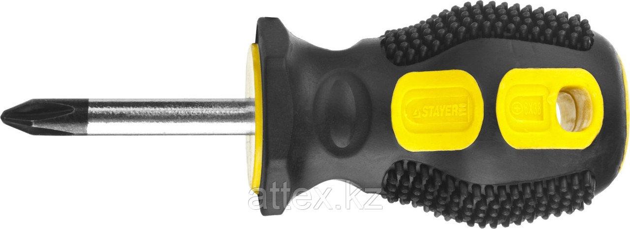 """Отвертка STAYER """"MASTER"""", двухкомпонентная рукоятка, магнитный наконечник, """"STUBBY"""" ( бочка ), PH2x3  2510-38-2_z01"""