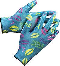 Перчатки GRINDA садовые, прозрачное нитриловое покрытие, размер L-XL, синие 11296-XL