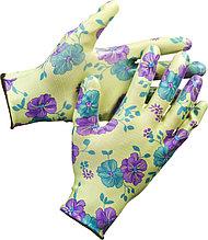 Перчатки GRINDA садовые, прозрачное нитриловое покрытие, размер S-M, зеленые 11295-S