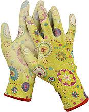 Перчатки GRINDA садовые, прозрачное PU покрытие, 13 класс вязки, зеленые, размер M 11290-M