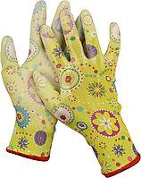 Перчатки GRINDA садовые, прозрачное PU покрытие, 13 класс вязки, зеленые, размер L 11290-L