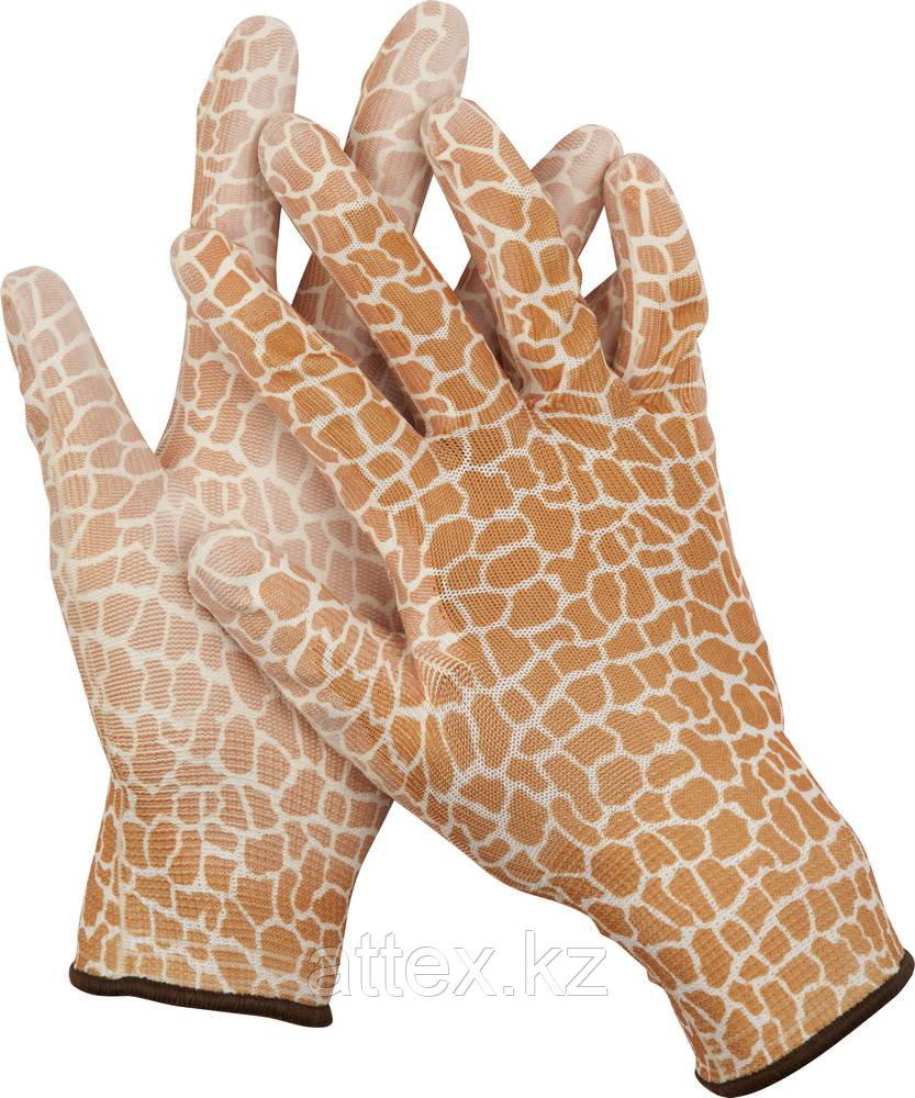 Перчатки GRINDA садовые, прозрачное PU покрытие, 13 класс вязки, коричневые, размер L 11292-L