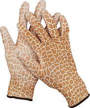 Перчатки GRINDA садовые, прозрачное PU покрытие, 13 класс вязки, коричневые, размер S 11292-S