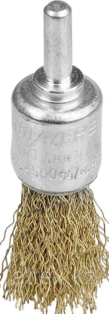 """STAYER """"PROFESSIONAL"""". Щетка кистевая для дрели, витая стальная проволока 0,3мм, 17мм 35113-17"""