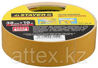 Двухсторонняя клейкая лента на полипропиленовой основе, STAYER 1221-38-10, 38мм х 10м