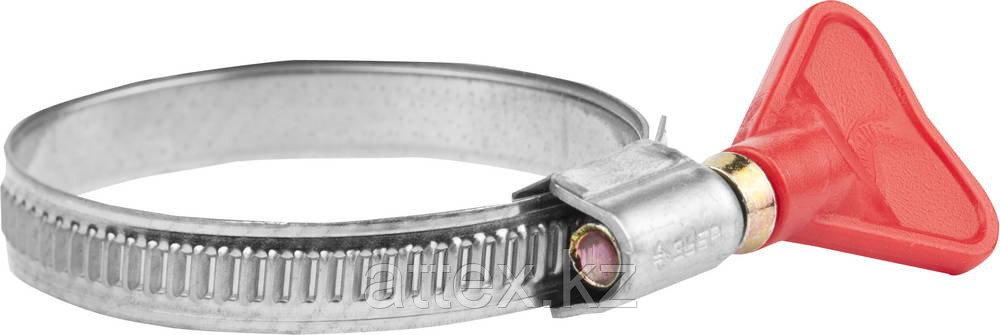 "Хомуты ""Бабочка"", нерж. сталь, накатная лента 9мм, 35-50 мм, 2 шт, ЗУБР Профессионал 37835-35-50"