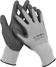 """Перчатки ЗУБР """"МАСТЕР"""" для точных работ с полиуретановым покрытием, размер XL (10) 11275-XL"""
