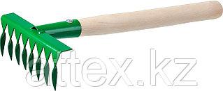 Грабельки садовые с деревянной ручкой, РОСТОК 39613, 8 витых зубцов, 160x62x405 мм