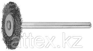 Щетка ЗУБР радиальная, нержавеющая сталь, на шпильке, d 20x 3,2мм, L 42мм, 1шт 35931