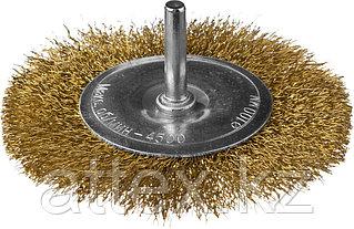 DEXX. Щетка дисковая для дрели, витая стальная латунированная проволока 0,3мм, 100мм  35110-100