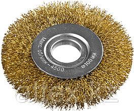 DEXX. Щетка дисковая для УШМ, витая стальная латунированная проволока 0,3мм, 100ммх22мм  35101-100