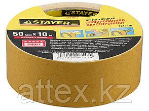 Двухсторонняя клейкая лента на тканевой основе, STAYER Profi 1217-10, 50мм х 10м