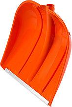 Лопата снеговая пластиковая с алюминиевой планкой, без черенка, 410мм, оранжевая, СИБИН 421834