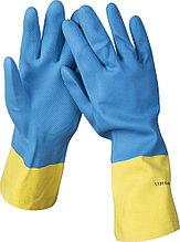 Перчатки STAYER латексные с неопреновым покрытием, экстрастойкие, с х/б напылением, размер S 11210-S