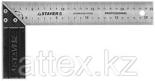 """Угольник STAYER """"PROFI"""" столярный, гравированная шкала, нержавеющее полотно 37мм, 250мм  3431-25_z01"""