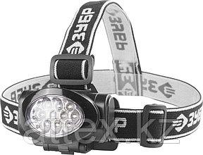 """Фонарь ЗУБР """"МАСТЕР"""" налобный светодиодный, 10Ultra LED, матричный рефлектор, 3 режима, 3ААА 56438"""