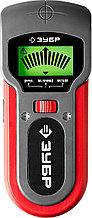 Металлодетектор многофункц, ЗУБР, 45265, ЖК дисплей, автокалибровка, металл(38мм), проводка(50мм), д