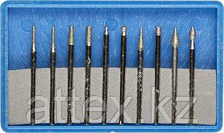 Набор ЗУБР: Мини-насадки с алмазным напылением в пластиковом боксе, P=180, хвостовик d=3мм, 10 предметов Зубр 33383-H10