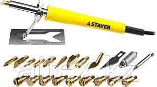 """Прибор для выжигания STAYER """"PROFESSIONAL"""", 3в1, с набором насадок 20шт 45227"""