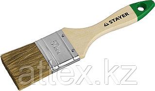 """Кисть плоская STAYER """"LASUR-STANDARD"""", смешанная (натуральная и искусственная) щетина, деревянная ручка, 50мм 01031-50"""