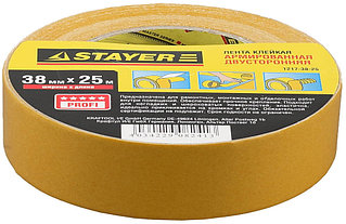 Двухсторонняя клейкая лента на тканевой основе, STAYER Profi 1217-38-25, 38мм х 25м