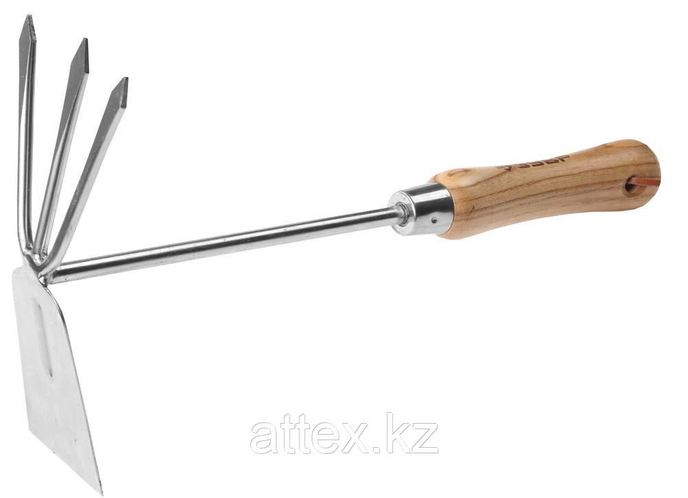 """Мотыжка ЗУБР """"ЭКСПЕРТ"""" комбинированная из нерж. стали, деревянная ручка из ясеня, прямое лезвие + 3 зубца, 190х80х330мм Зубр 4-39472"""