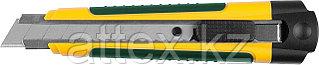 Нож с сегментированным лезвием, KRAFTOOL 09199, двухкомп корпус, автостоп, отсек для хранения запасн